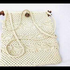BOHO Vintage Handmade Macrame Bag Wooden Accents